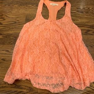Tops - Orange lace tank size Med
